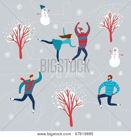 Cartoon Ice Skaters