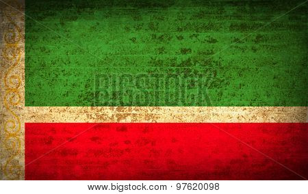 Flags Chechen Republic With Dirty Paper Texture. Vector