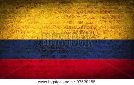 Flags Colombia With Dirty Paper Texture. Vector