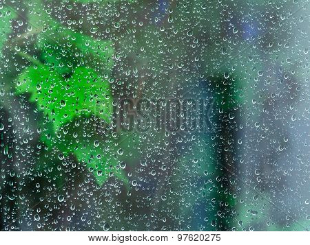 Raindrops On Window Glass During Night Rain