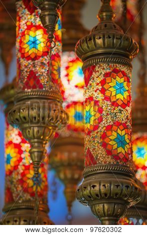 Mosaic Ottoman lamps from Grand Bazaar