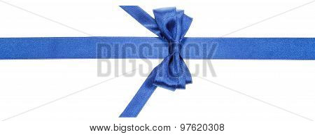 Real Blue Bow With Vertically Cut End On Silk Band