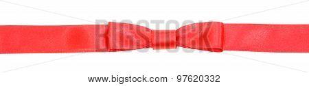 Real Red Bow Knot On Narrow Satin Ribbon