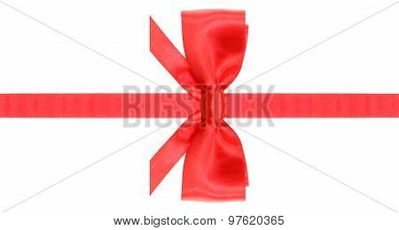 Symmetric Red Bow With Horizontal Cuts On Ribbon