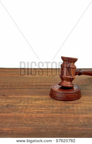 Judges Wood Desk With Gavel On The Sound Board Isolated