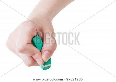 Front View Of Hand With New Rubber Eraser Isolated