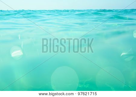 clean turquoise sea wave close up