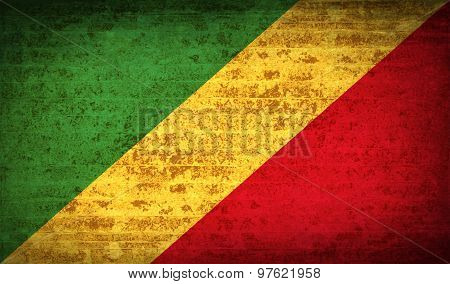 Flags Congo Republic With Dirty Paper Texture. Vector