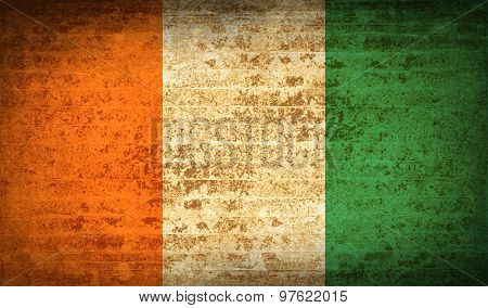 Flags Cote Dlvoire With Dirty Paper Texture. Vector