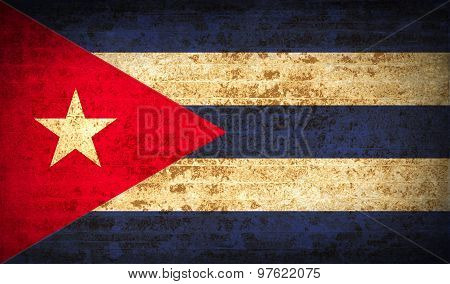 Flags Cuba With Dirty Paper Texture. Vector