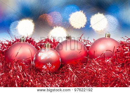 Xmas Red Balls On Soft Blue Background