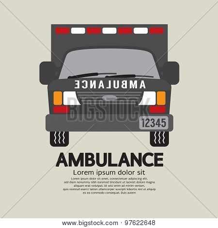 Front View Of Ambulance.