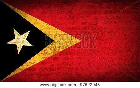 Flags East Timor With Dirty Paper Texture. Vector