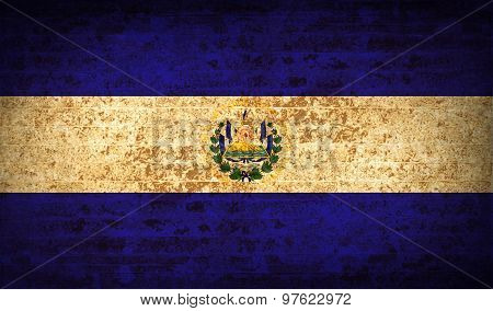 Flags El Salvador With Dirty Paper Texture. Vector