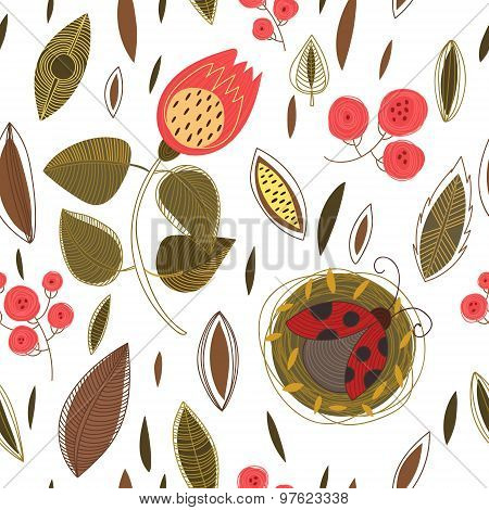Concept Floral Seamless Pattern With Summer Flowers,leafs And Ladybug.can Be Used For Wallpaper, Pat