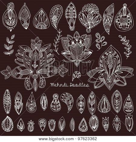 Mehndi Tattoo Doodles Set 1- Abstract Floral Illustration Design Elements On Black Background