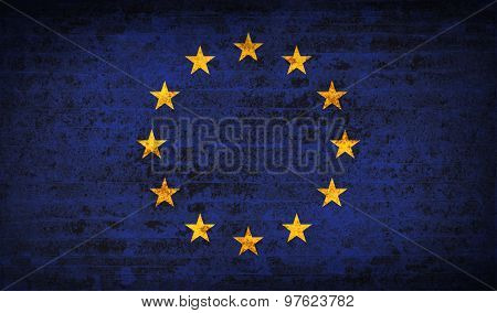 Flags European Union With Dirty Paper Texture. Vector