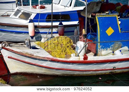 Greek fishing boats docked in harbour