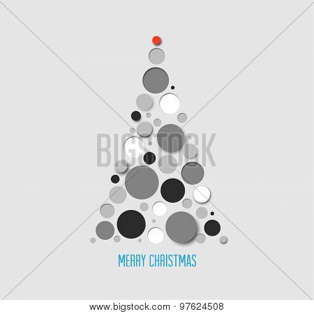 Vector absract christmas tree card made from gray  circles
