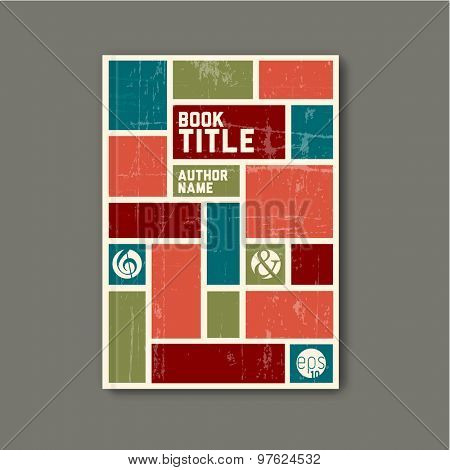 Retro vintage Vector abstract brochure / book / flyer design template - retro color version