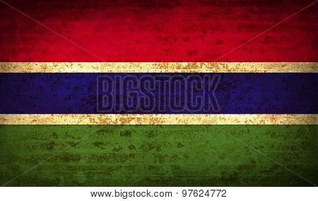 Flags Gambia With Dirty Paper Texture. Vector