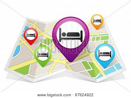 Hotel and Bed Map pointer Location Destination on map