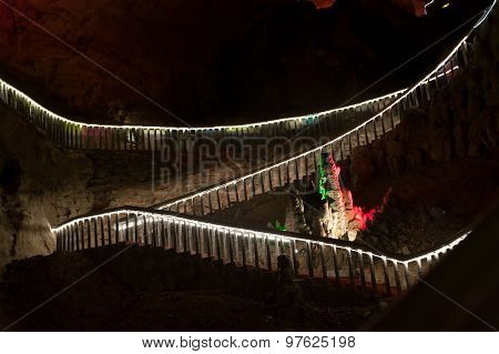 Stair In Huanglong Cave In China.
