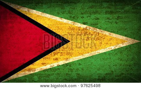 Flags Guyana With Dirty Paper Texture. Vector