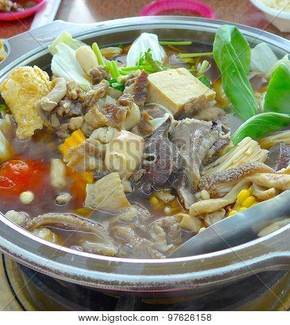 Mutton hot pot closeup at restaurant