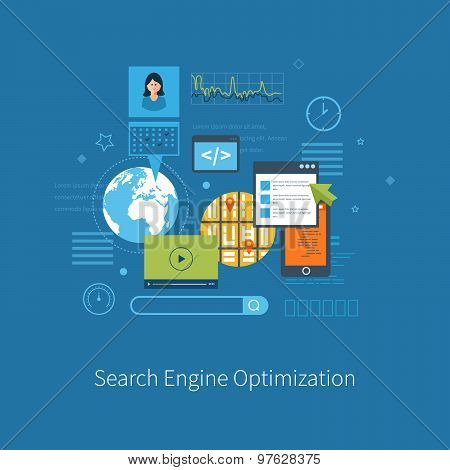 Set of flat design vector illustration concepts for search engine optimization and web analytics ele