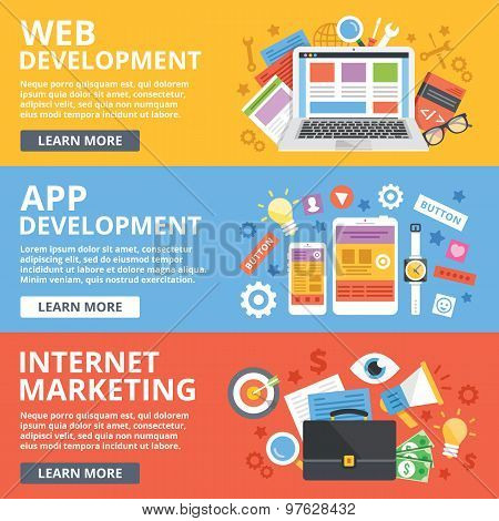 Web development, mobile apps development, internet marketing flat illustration concepts set