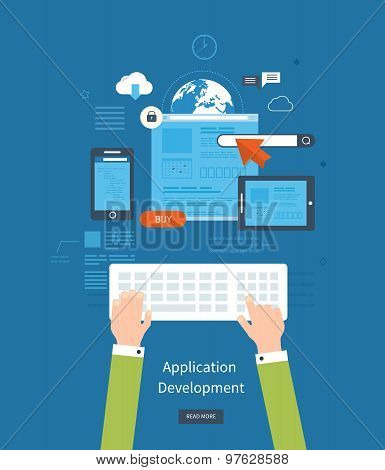 Modern flat design application development concept  for e-business, web sites, mobile applications,