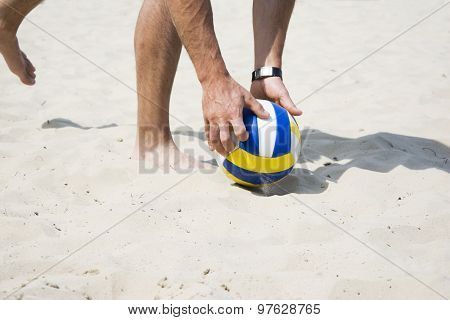 Beach Volley Net On A Sandy Beach