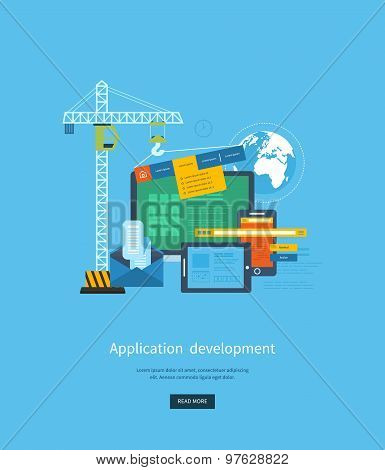 Modern flat design application development concept  for e-business, web sites, mobile applications,