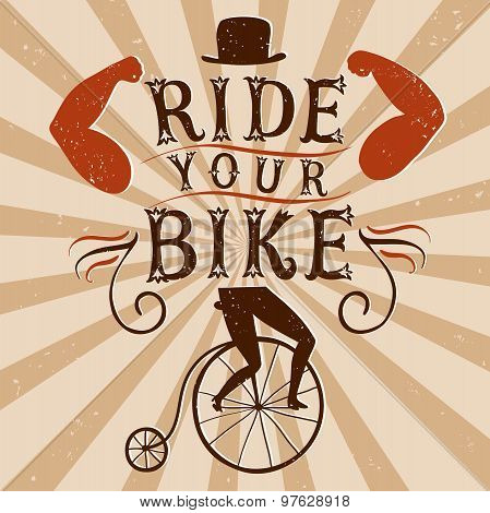 Hand Drawn Decorative Textured Vintage Vector Poster For Bicycle.