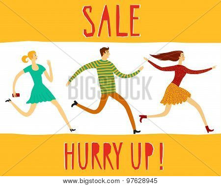Hurry Up  Sale Illustration With People