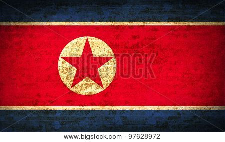 Flags Korea North With Dirty Paper Texture. Vector