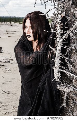 Woman In A Black Clothes Near The Dry Tree