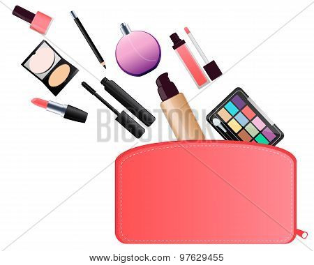 Cosmetic bag. Lipstick and eye shadow. Vector illustration