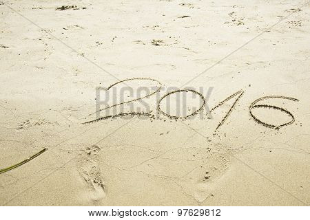Number 2016 Written In Sand