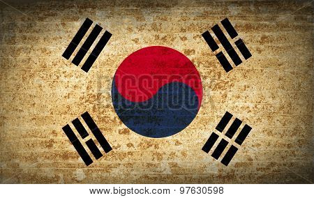 Flags Korea South With Dirty Paper Texture. Vector