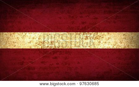 Flags Latvia With Dirty Paper Texture. Vector