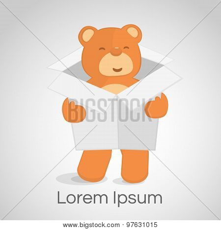 Happy Teddy Bear With White Box Logo