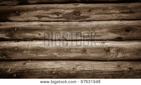 Wall From Old Wooden Laths Semicircular