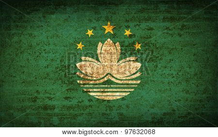 Flags Macau With Dirty Paper Texture. Vector
