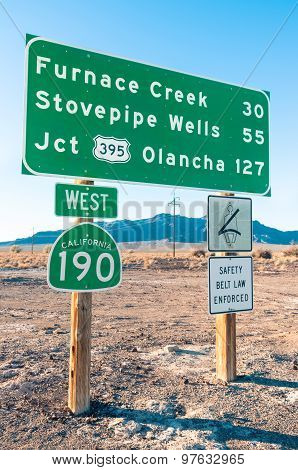 Road Sign In The Death Valley - Highway West 190