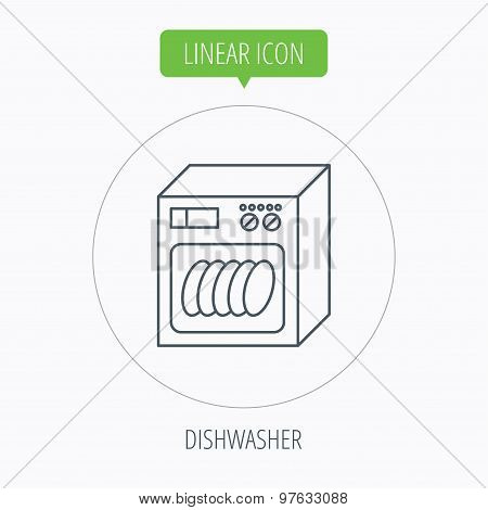Dishwasher icon. Kitchen appliance sign.
