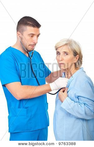 Worried Doctor Checkup Sick Senior
