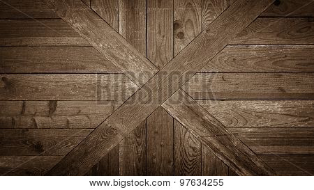 Old Wooden Cross Board Wall As Background
