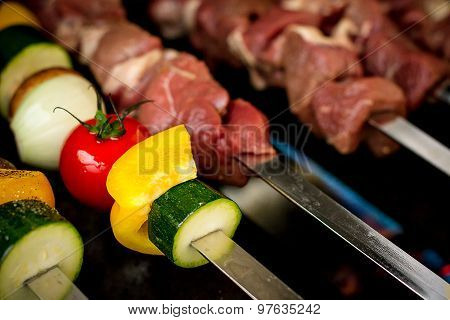 Vegetables And Meat As Shish Kebab On Skewers